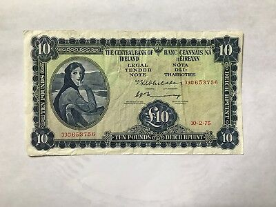 Central Bank of Ireland Lady Lavery 10 Pound Note, 1975, circulated