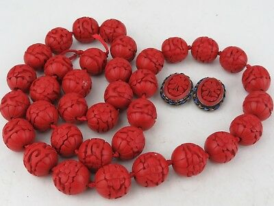 Estate Vintage Chinese Cinnabar Carving necklace & sterling silver earrings