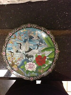 Antique Chinese Cloisonne Bird and Floral Plate with Stand