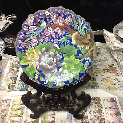 Antique Cloisonne Bird and Floral Plate with Stand blue used one of a kind
