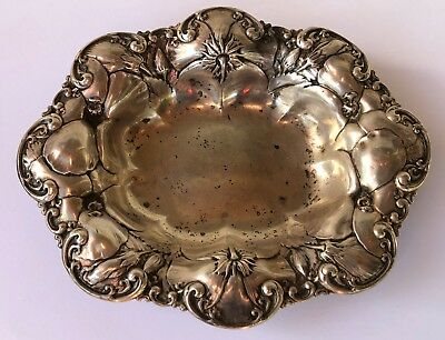Antique Art Nouveau Whiting Sterling Silver Repousse HIBISCUS Flower Bowl 7""