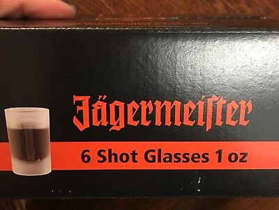NEW IN SEALED BOX SET OF 6 JAGERMEISTER Frosted Glass 1 Oz Shot Glasses Germany