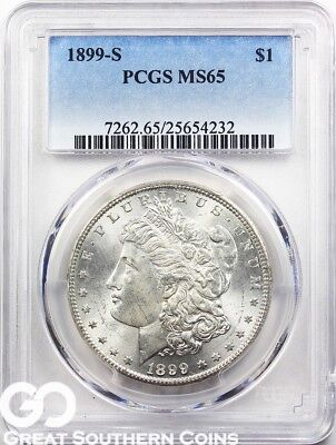 1899-S Morgan Silver Dollar PCGS MS 65 ** Tough This Nice, Lustrous Better Date!