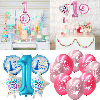 Baby Home Party Decor Birthday Balloon One Year Old Latex Foil Boy Girl