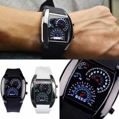 Fashion Men's Black Stainless Steel Luxury Sport Analog Quartz LED Wrist Watch