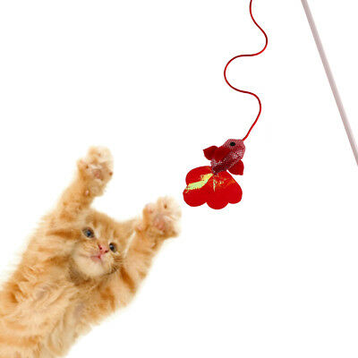 Kitten Pet Cat Teaser Red Fish Shape Interactive Fun Toy Wire Chaser Wand Stick