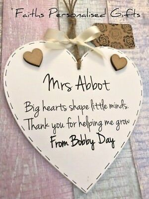 Personalised Teacher/Childminder Thank You Gift*Shabby Chic Wooden Plaque*
