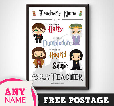 PERSONALISED Harry Potter Print Gift Present TEACHER Thank you End Term Picture