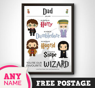 PERSONALISED Harry Potter Print Gift Present Dad Daddy Fathers Day 👨 Birthday