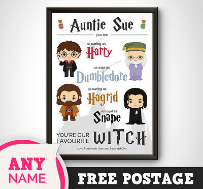 PERSONALISED Harry Potter Print Gift Keepsake Birthday - Gifts Auntie Aunty Aunt