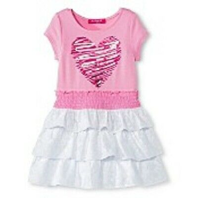 U-Knit Pink White Combo Heart Design Girls Ruffled Dress Size 6X Nwt