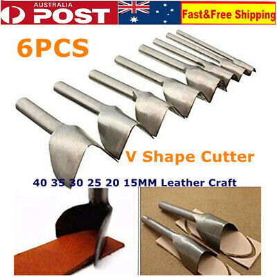 6pcs DIY Leather Punch Cutter V Shape Punch Belt End Cutter for Leather Sewing