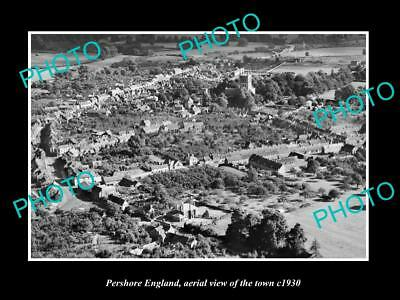 OLD LARGE HISTORIC PHOTO OF PERSHORE ENGLAND, AERIAL VIEW OF THE TOWN c1930 1