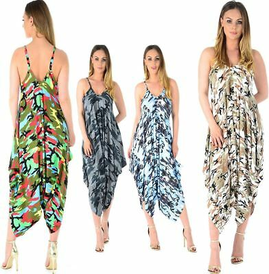 Women Legenlook Camouflage Cami Strappy Jumpsuit Ladies Baggy Harem Romper