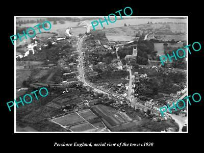 OLD LARGE HISTORIC PHOTO OF PERSHORE ENGLAND, AERIAL VIEW OF THE TOWN c1930 3