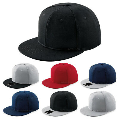 New Plain Snapback Cap Black Plain Baseball Hip Hop Era Fitted Flat Peak Hat