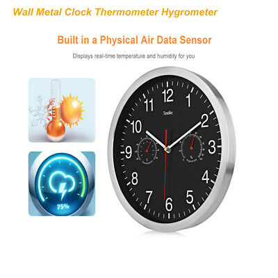 32cm Silent Wall Metal Clock Thermometer Hygrometer 12-hour Display Home Decor