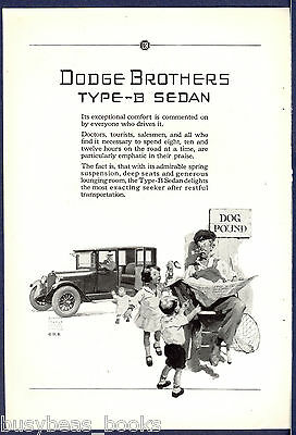 1925 DODGE BROTHERS advertisement, Type-B Sedan, lost dog, dog catcher