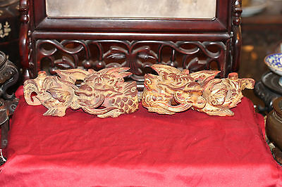 Rare Pair Of Antique Chinese Gold Gilt Wood Dragons 19Th Century Fine Carving