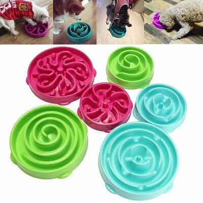 Pet Dog Cat Interactive Slow Food Bowl Healthy Anti Slip Gulp Feed Bloat Dish