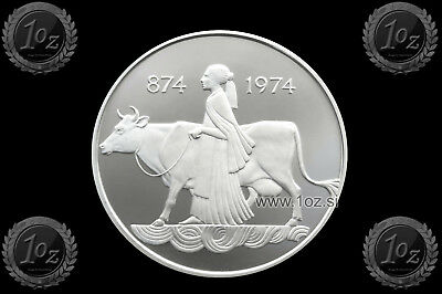 ICELAND 500 KRONUR 1974 (1100th anni of 1st SETTLEMENT) SILVER Comm. Coin *PROOF