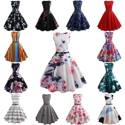 Vintage Women 1950s 60s Hepburn Rockabilly Pinup Tea Party Swing Dress with Belt
