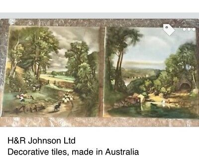 Vintage pair of H&R LTD Decorative Tiles (Made in Australia) Countryside Scenes