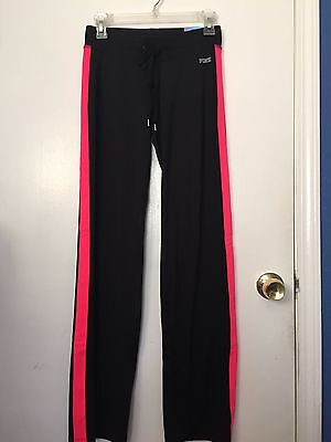 NWT Victoria's Secret PINK Track Pant W/draw string black and pink XS