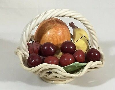 Vintage Italian Ceramic Artificial Fruit Basket Weave Bowl Hand Made Italy
