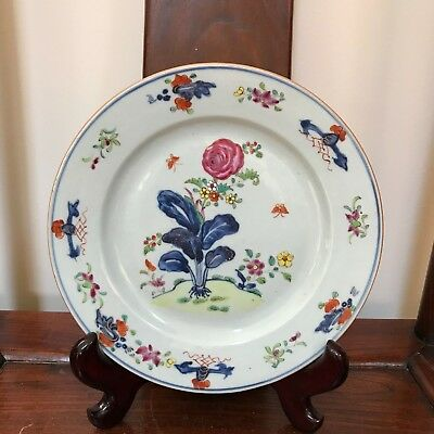 18th C Chinese EXPORT CHARGER Plate Famille Rose Floral Under/above Glaze Paint