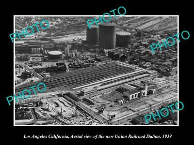 Old Large Historic Photo Of Los Angeles Ca Aerial Of Union Railroad Station 139