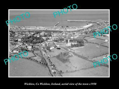 OLD LARGE HISTORIC PHOTO OF WICKLOW IRELAND, AERIAL VIEW OF THE TOWN c1950 2