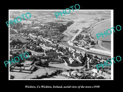 OLD LARGE HISTORIC PHOTO OF WICKLOW IRELAND, AERIAL VIEW OF THE TOWN c1950 1