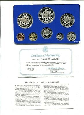 1975 Barbados 8 Coin Proof Set original government packaging with silver coins