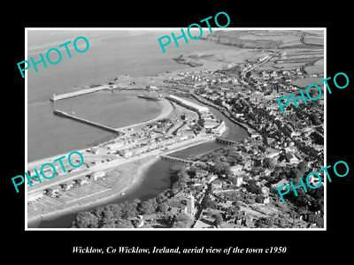 OLD LARGE HISTORIC PHOTO OF WICKLOW IRELAND, AERIAL VIEW OF THE TOWN c1950 3