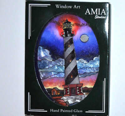 AMIA LIGHTHOUSE Stained Glass SUNCATCHER hanging window ART GLASS ~ BOXED
