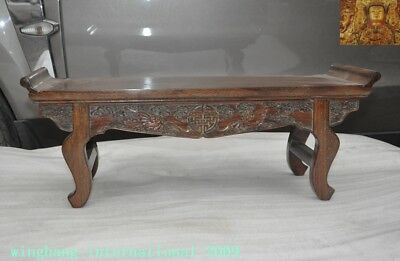 China huanghuali wood carved wealth animal bat statue Ancient Tables desk table