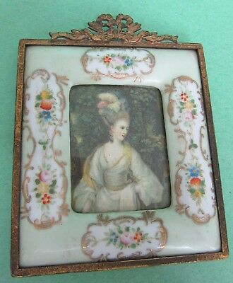Antique Hand Painted Floral & Gold Gilted Porcelain Picture Frame