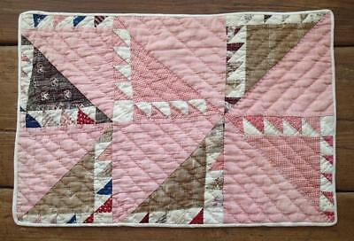 Tiny Pieces! Antique c1880s Farmhouse Table or Doll QUILT Lady of the Lake
