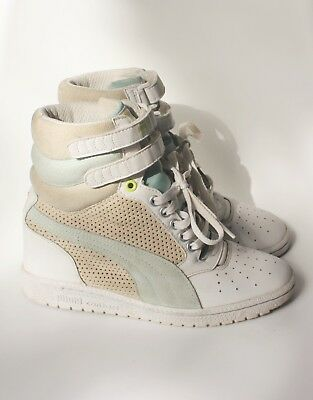 PUMA SKY WEDGE SNEAKERS 7 White Gray Blue Leather Suede High Tops Trend  Shoes b3c303e6a