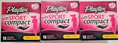 Brand New Lot 3 Sealed Playtex Sport Compact Tampons Super Unscented 18 Count