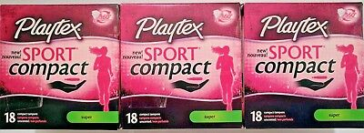 Brand New Lot 3 Sealed Playtex Sport Compact Tampons Regular Unscented 18 Count
