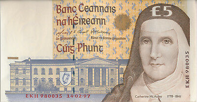 CENTRAL BANK OF IRELAND 5 POUND NOTE **ABOUT UNCIRCULATED** CATHERINE McAULEY
