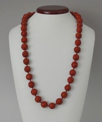 """27"""" Vintage Chinese Hand Carved Red Lacquer Cinnabar Necklace"""