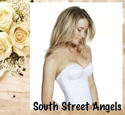 ed048313c2bf6 Dominique 8541 ~ White ~ Longline Smooth Strapless Underwire Bra ~ Size 36A