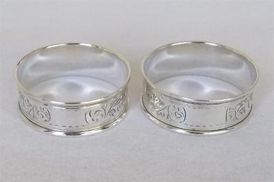 A Fine Antique Pair Of Solid Silver Napkin Rings By Charles Horner Chester 1922.