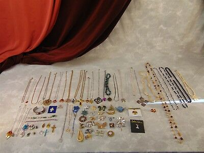 Lot of Costume Jewelry Necklaces Brooches Bracelets Pendants