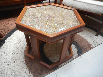 Mid Century Modern Hexagon Walnut Side Table W/Glass John Keal for Brown Saltman