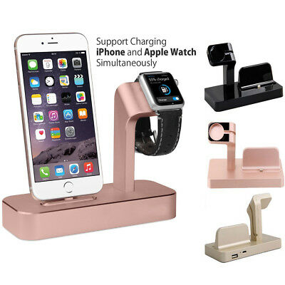 HOT Charging Dock Stand 2 IN1 Bracket Holder Kit For iPhone Apple Watch iwatch