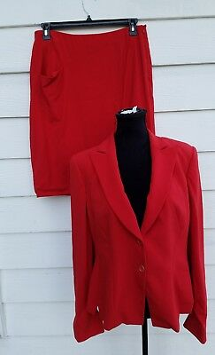 Giorgio Armani Borgo 21 Women's Skirt Suit sz Italy 46 US 10 Red Wool Blazer L